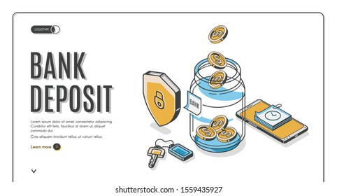 Bank deposit isometric landing page, dollar coins falling to glass jar with shield, keys and mobile phone around, investment increase money saving business. 3d vector illustration, line art web banner