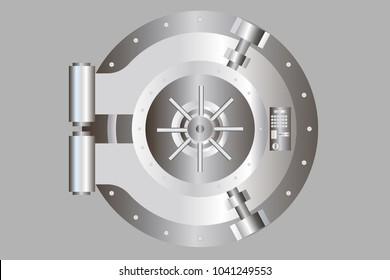 Bank door illustration. Vector vault door.