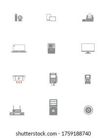 Bank Equipment Icons Set (12 icons)