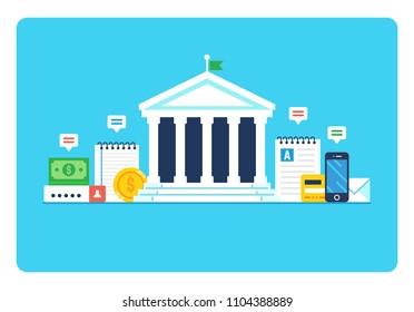 Bank, Finance. Modern flat style vector illustration.