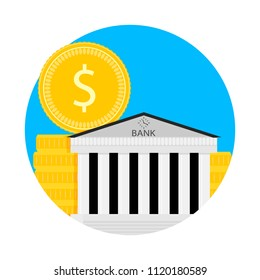 Bank financial capitalization icon. Capital fund and savings, revenue finance, capitalization strategy. Vector illustration