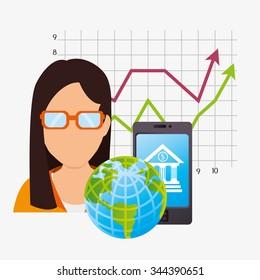 Bank, global economy and money savings graphic design, vector illustration