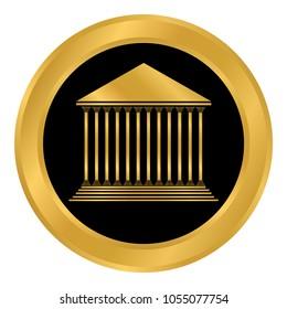 Bank gold button, gold on black background. Vector illustration.