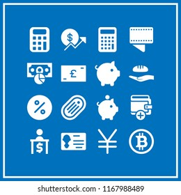 bank icon. 16 bank vector set. yen, bitcoin internet money, food donation and wallet icons for web and design about bank theme