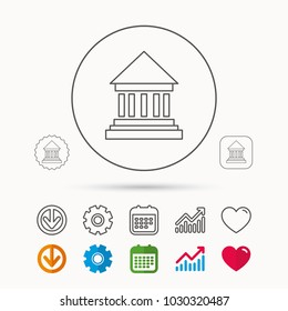 Bank icon. Court house sign. Money investment symbol. Calendar, Graph chart and Cogwheel signs. Download and Heart love linear web icons. Vector