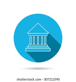 Bank icon. Court house sign. Money investment symbol. Blue flat circle button with shadow. Vector