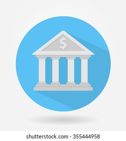 Bank icon with a dollar sign on it. Circle shaped flat style icon with long shadow. For financial related applications and web design
