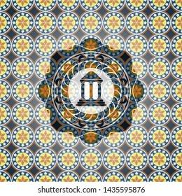 bank icon inside arabic style emblem. Arabesque decoration.