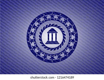 bank icon inside emblem with denim high quality background