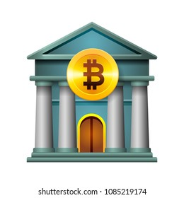 Bank icon, modern design concept of cryptocurrency technology, bitcoin exchange, mobile banking, vector illustration