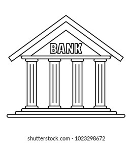 Bank icon. Outline illustration of bank vector icon for web