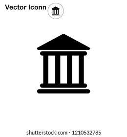 Bank icon vector, banking, court, building