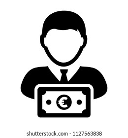 Bank icon vector male user person profile avatar with Euro sign currency money symbol for banking and finance business in flat color glyph pictogram illustration
