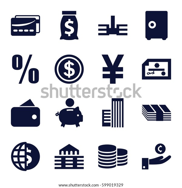 bank icons set. Set of 16 bank filled icons such as Coin, building, card, percent, dollar coin, wallet, piggy bank, money sack, money, safe, hand on coin, globe dollar, check