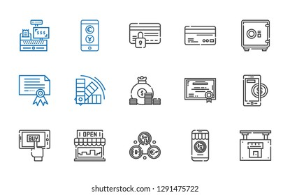 bank icons set. Collection of bank with real estate, money, exchange, store, mobile shopping, online payment, certificate, coin, color, safebox. Editable and scalable bank icons.
