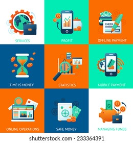 Bank icons set with services profit offline payments time is money isolated vector illustration