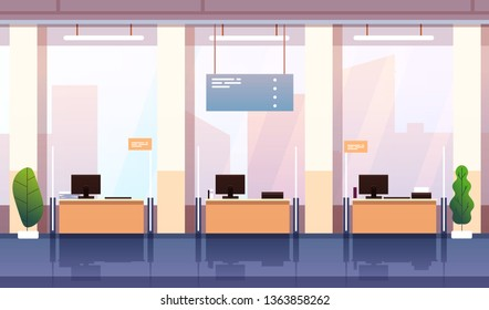 Bank interior. Banking investment wealth growth symbols. Empty bank office consulting center cartoon business financial vector concept. Illustration of office empty, bank interior workplace