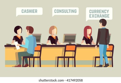 Bank interior with cashier, consulting, currency exchange. Banking concept. Finance, staff manager, visitor, client office. Vector illustration