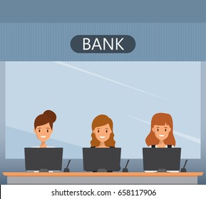 Bank interior with cashier operator woman sitting. Financial counter. Illustration vector.