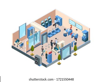 Bank interior isometric. Business financial offices with different banking workers managers and clients customers dialogue vector people