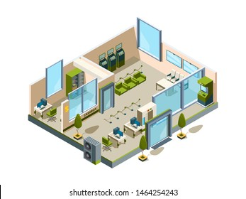Bank isometric. Modern building interior office open space banking lobby service room for managers vector 3d low poly. Illustration isometric bank interior, office business service