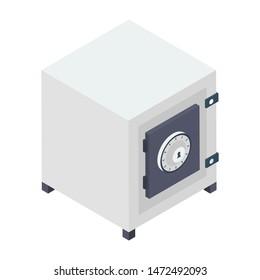 Bank locker vector in isometric design