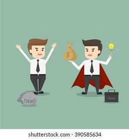 bank man help business man from debt