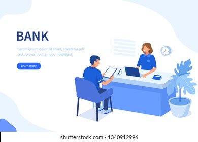 Bank manager and client. Flat isometric vector illustration isolated on white background.