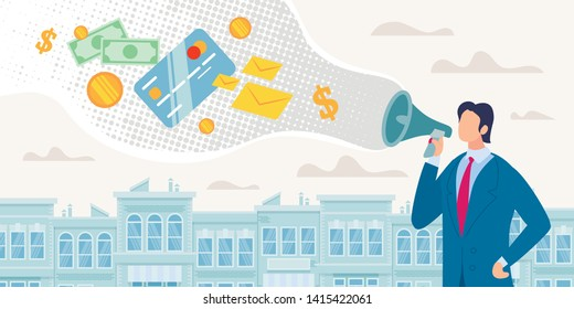 Bank Microcredit Program Flat Vector Concept. Businessman or Banker Speaking in Loudspeaker, Advertising Customers Credit, Investments for Small Business Growth, Offering to Borrow Money Illustration