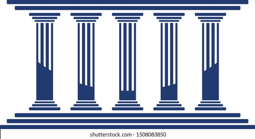 Bank, museum or library icon. classical architecture building with columns. flat vector illustration easy to edit and customize. . Column pillar parthenon landmark. Vector illustration flat architectu