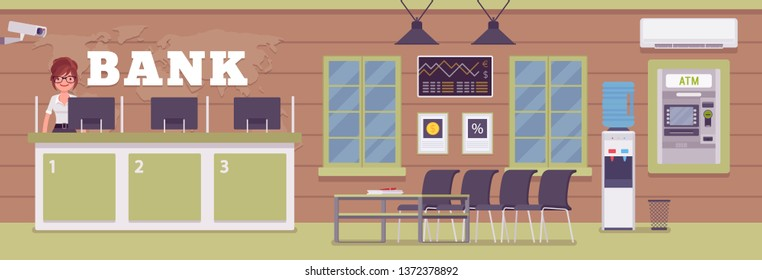 Bank office and female professional manager. Financial center modern corporate interior design, young woman working in a banking branch, employee to deal with services, customers. Vector illustration