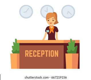 Bank office or hotel reception with receptionist smiling woman vector illustration. Reception hall with woman receptionist
