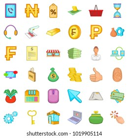 Bank office icons set. Cartoon set of 36 bank office vector icons for web isolated on white background