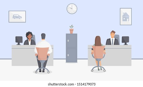 Bank office or insurance company: bank employees sitting behind tables and serving bank customers. Elegant interior with wall clock and paintings with house and car.Safe.Vector illustration