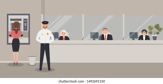 Bank office interior: Bank clerks sit behind barrier with glass, ATM or cash machine.Elegant interior financial institution. Hall with bank counter with clients and security guard. Vector illustration