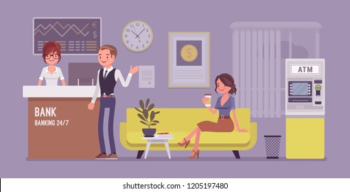 Bank office interior design. Modern financial center with services to customers, assistant offering personal and business help for clients, inside room view. Vector flat style cartoon illustration