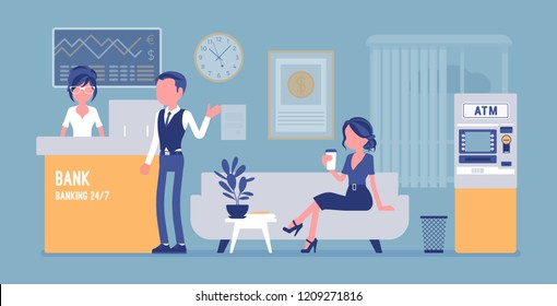 Bank office interior design. Modern financial center with services to customers, assistant offering personal and business help for clients, inside room view. Vector illustration, faceless characters