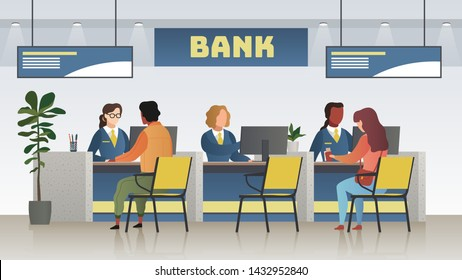 Bank office interior. Professional banking service, finance manager and clients. Credit, deposit consult management and counter serviced indoor payment cashier vector concept