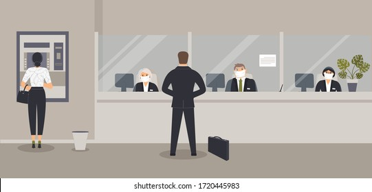Bank office interior:Bank clerks sit behind barrier with glass, ATM or cash machine,bin.Elegant interior financial institution. Hall with bank counter with plant monstera in pot. Vector illustration
