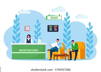 Bank office reception counter, desk with employee, manager consultant. Banking branch interior. Lobby or waiting room with soft armchair, cofee table Financial consulting center. Vector cartoon design