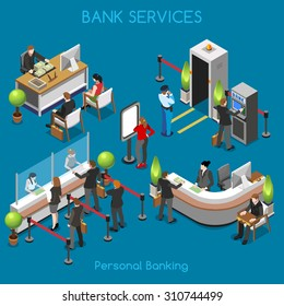 Bank Office Reception Service meeting Client Isometric People work 3D Flat Vector Isometric Floor Building Interior Set. Cash desk secretary accountant Person vault counter finance insurance 3d Image