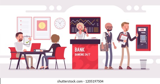 Bank office working with clients. Modern financial institution interior, young professional consultants interacting with customers, white, red interior design. Vector flat style cartoon illustration