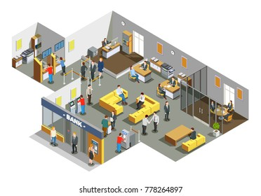 Bank offices interior with customers in waiting area and accounting clerks attending clients isometric composition vector illustration