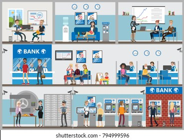 Bank offices set. Employees and visitors. Credit and savings service.