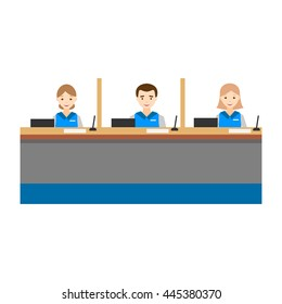 Bank operators behind the counter. Customer service of the bank. Flat design.