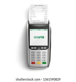 Bank POS terminal for payment of purchases in shop or supermarket by credit or debit card and paper cash receipt in realistic isolated vector illustration - successful electronic transaction concept.