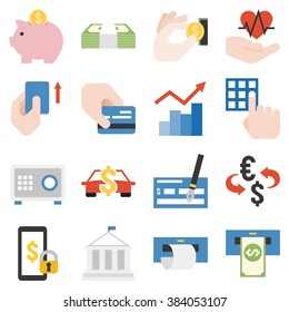 bank products and financial service icons set, flat design