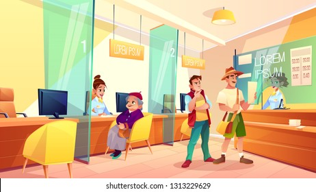 Bank reception area cartoon vector. Granny talking with financial consultant, clients standing in line, exchanging currency in cash register illustration. Pension savings, deposit in bank concept