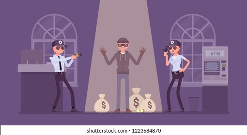 Bank robber caught by police. Masked man failed to break and steal money from financial institution, security officers protect office from attack and robbery. Vector flat style cartoon illustration