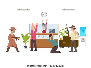 Bank robbery by masked criminals. Gangsters armed attack with force, violence organized to steal money from financial institution, poor office security service. Vector flat style cartoon illustration